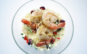 Butterfly prawns and jewelled couscous
