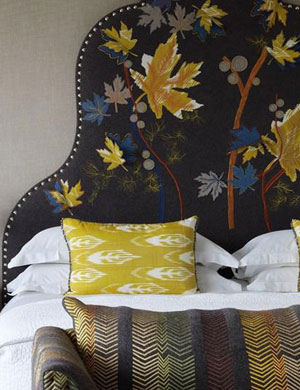 Pippa Caley's acorn leaf headboard at Soho Hotel